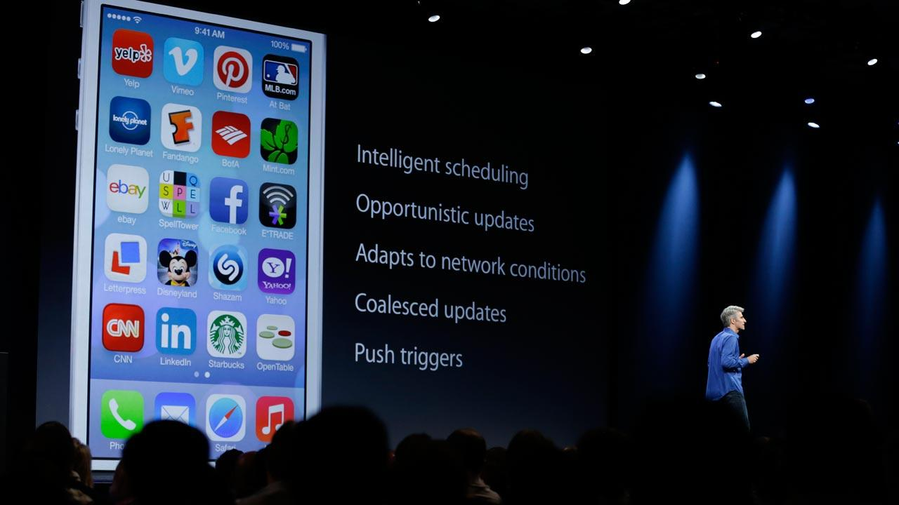 Craig Federighi, senior vice president of Software Engineering at Apple talks about the features of the new iOS 7 during the keynote address of the Apple Worldwide Developers Conference Monday, June 10, 2013 in San Francisco.