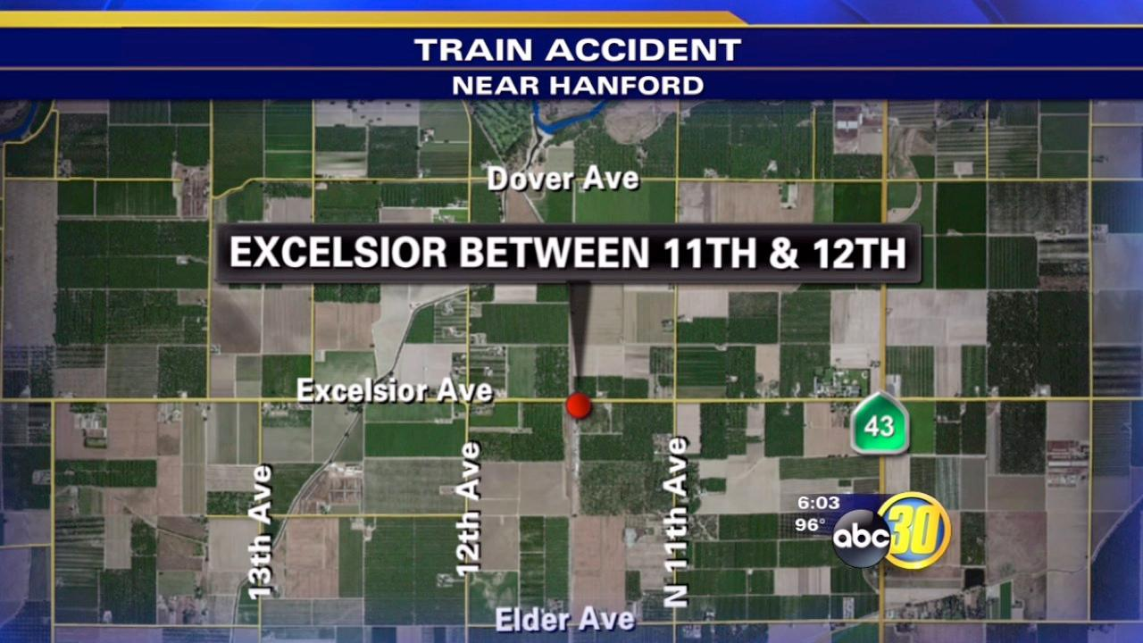 Train hits flatbed truck in Hanford