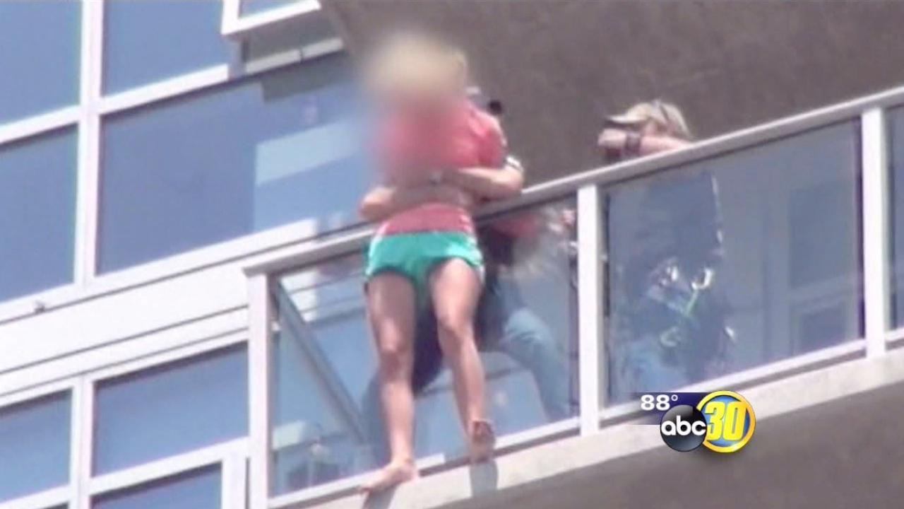 Superhero movie stunt men save woman in real life
