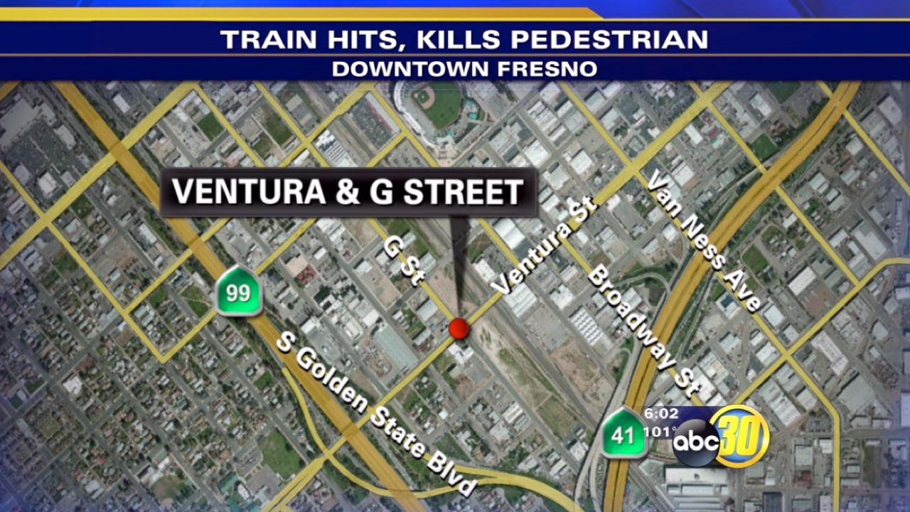 Man dies after hit by train in Downtown Fresno