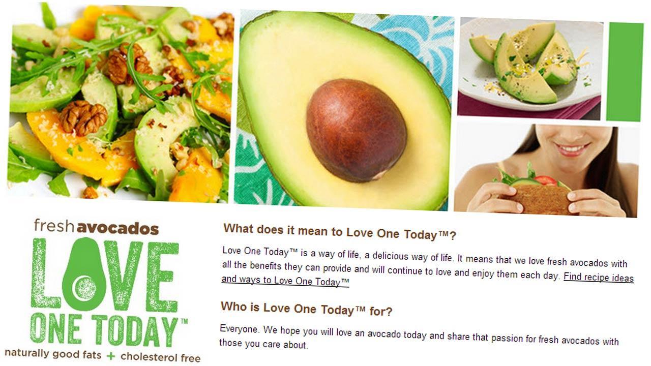 Screenshot taken from Love One Today avocado website