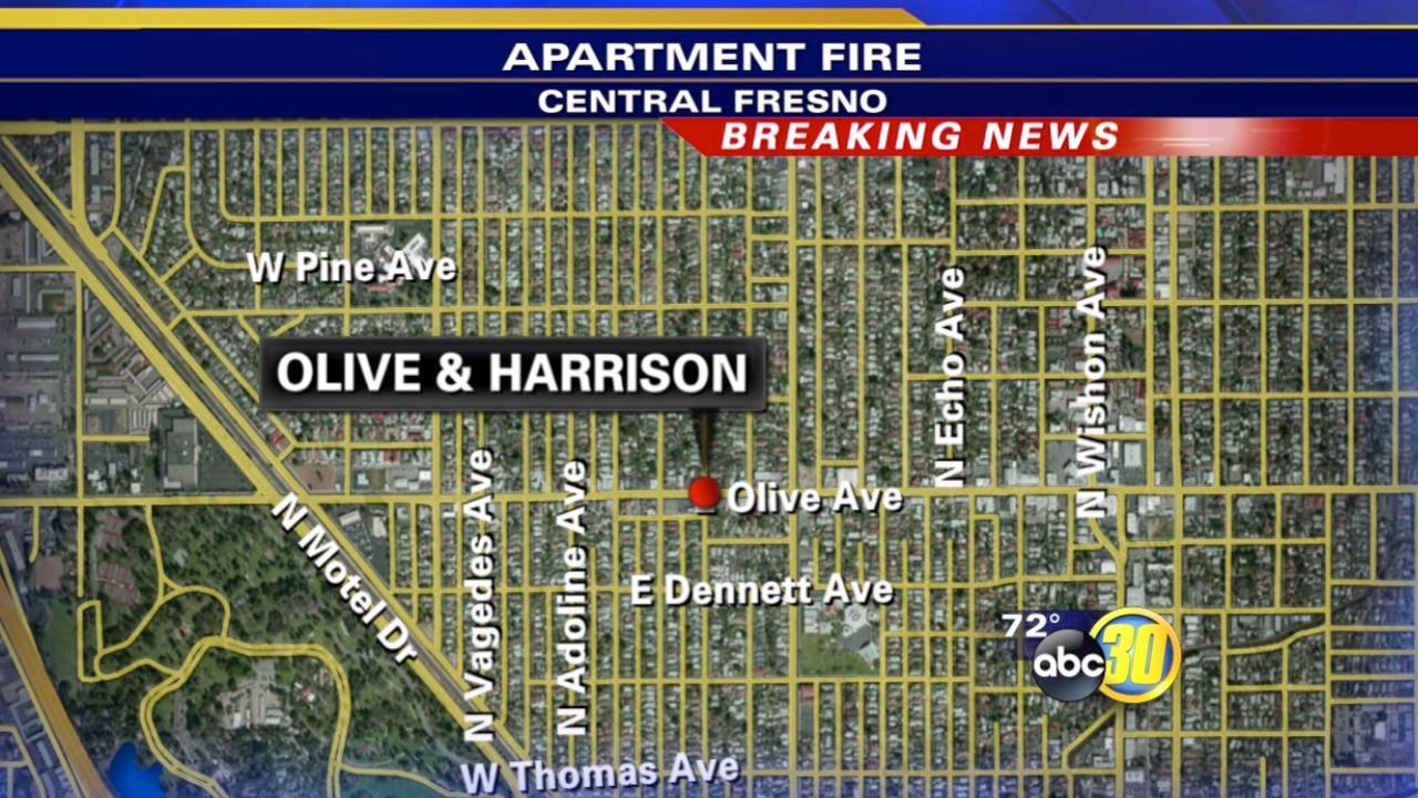 Two-alarm fire on East Olive in Fresno prompts road closure