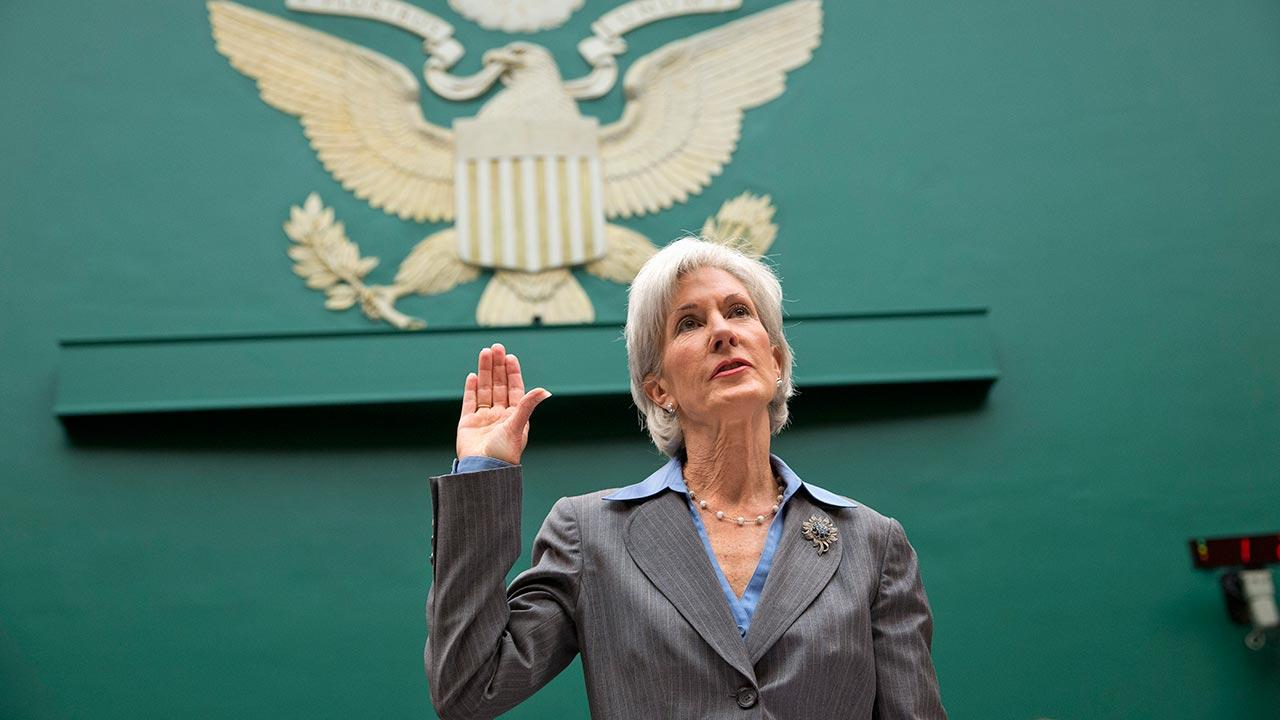 Health and Human Services Secretary Kathleen Sebelius is sworn in on Capitol Hill in Washington, Wednesday, Oct. 30, 2013