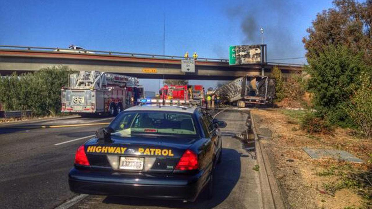 Fiery semi-truck crash leaves driver dead and shuts down part of Highway 99