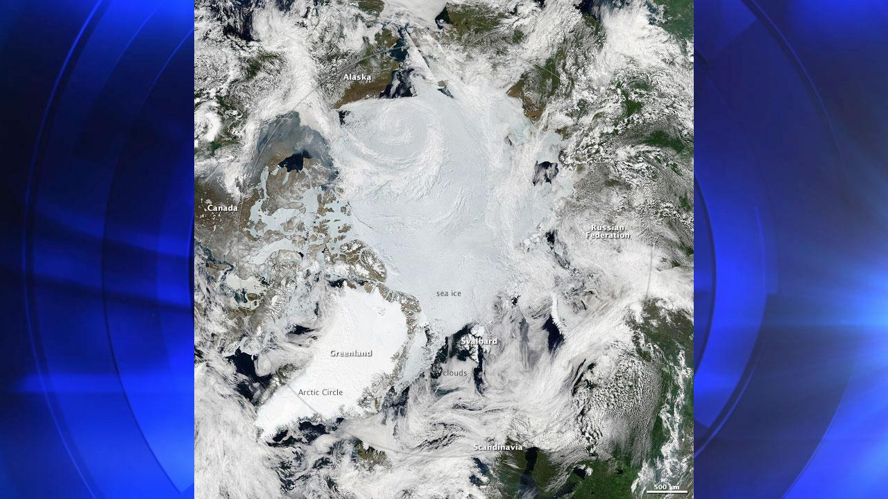 This Arctic mosaic is composed from several passes of the Moderate Resolution Imaging Spectroradiometer (MODIS) on NASAs Aqua satellite on June 28, 2010.