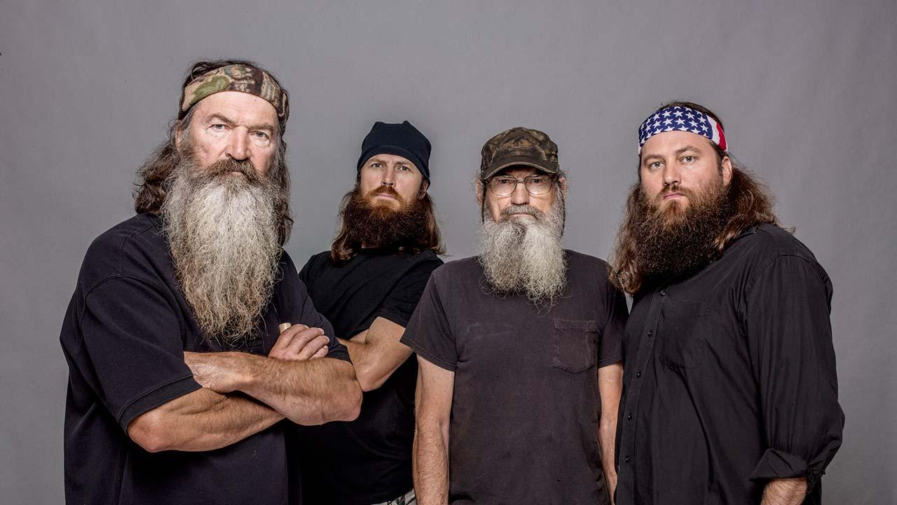 This 2012 photo released by A&E shows, from left, Phil Robertson, Jase Robertson, Si Robertson and Willie Robertson from the A&E series, Duck Dynasty, airing Wednesdays at 10 p.m. EST.