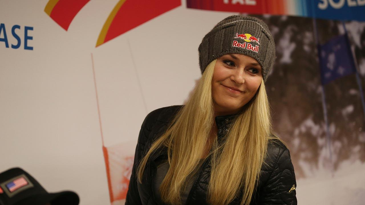 U.S. ski racer Lindsey Vonn smiles before a press conference in view of the Alpine Skiing World Championships, in Schladming, Austria, Sunday, Feb. 3, 2013.