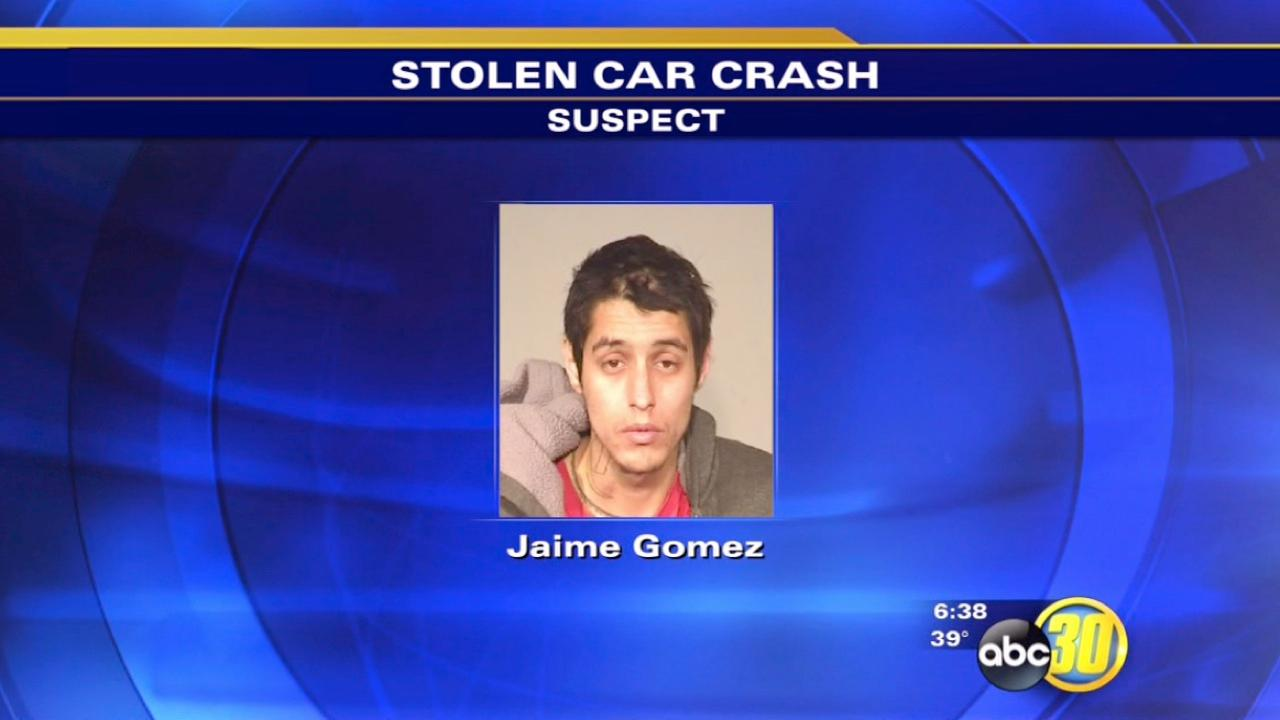 Suspect crashes stolen car with underage girlfriend inside, Fresno Police say