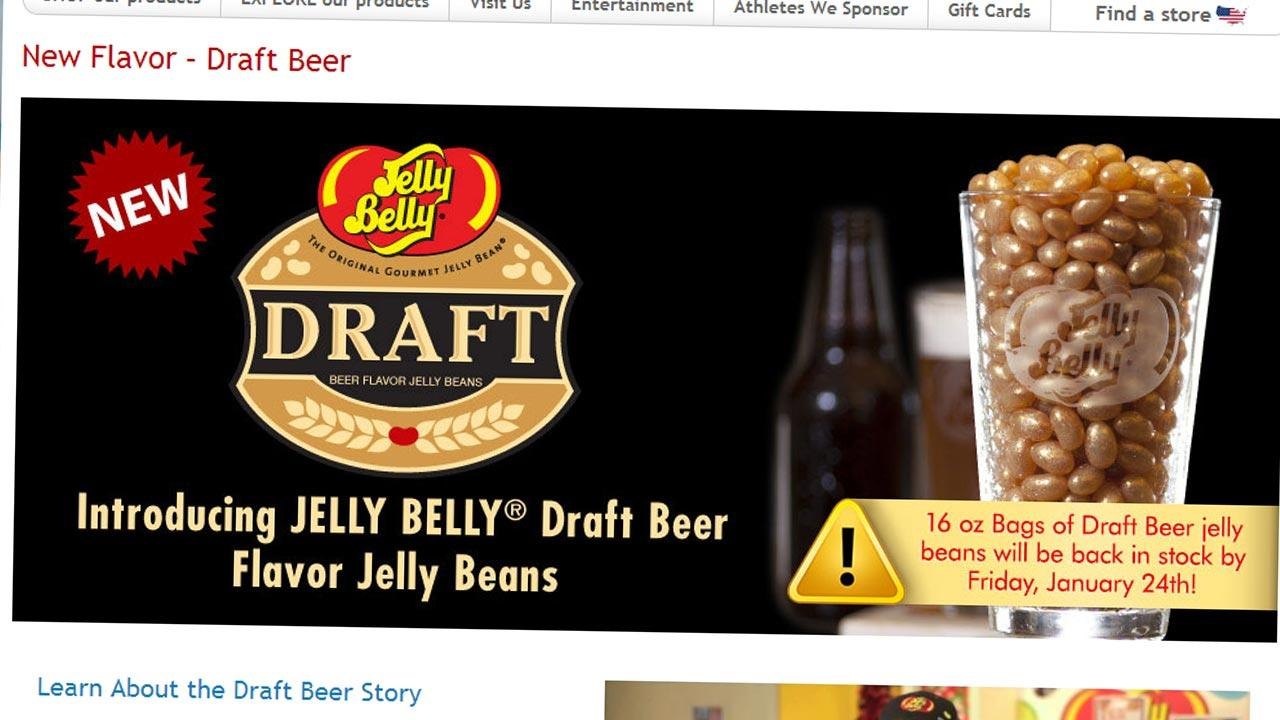The screenshot taken from the Jelly Belly website shows the new Draft Beer flavored jelly beans offered for sale online.