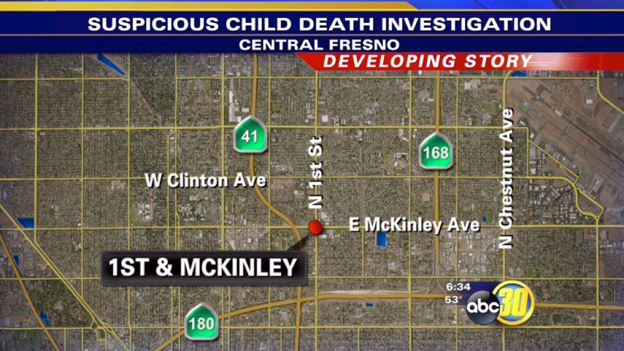 Fresno police officers investigate suspicious death of a child