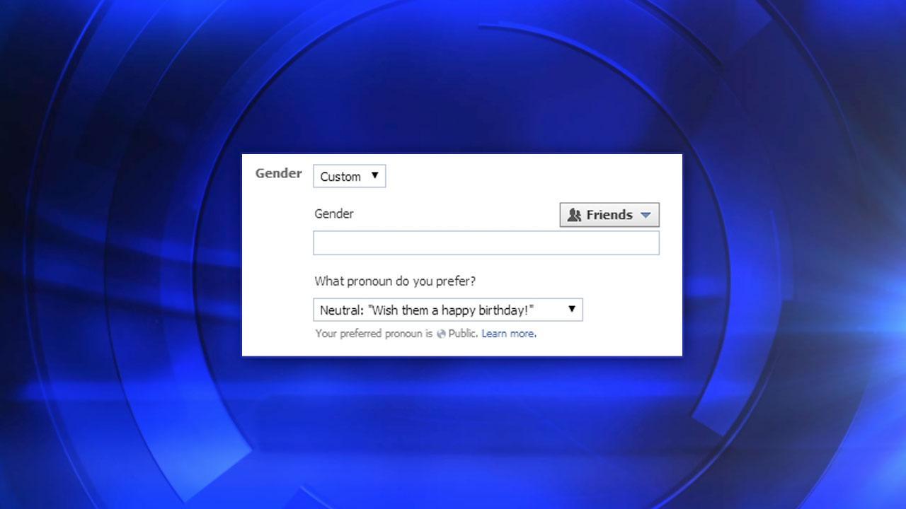 Screenshot of new Facebook gender options