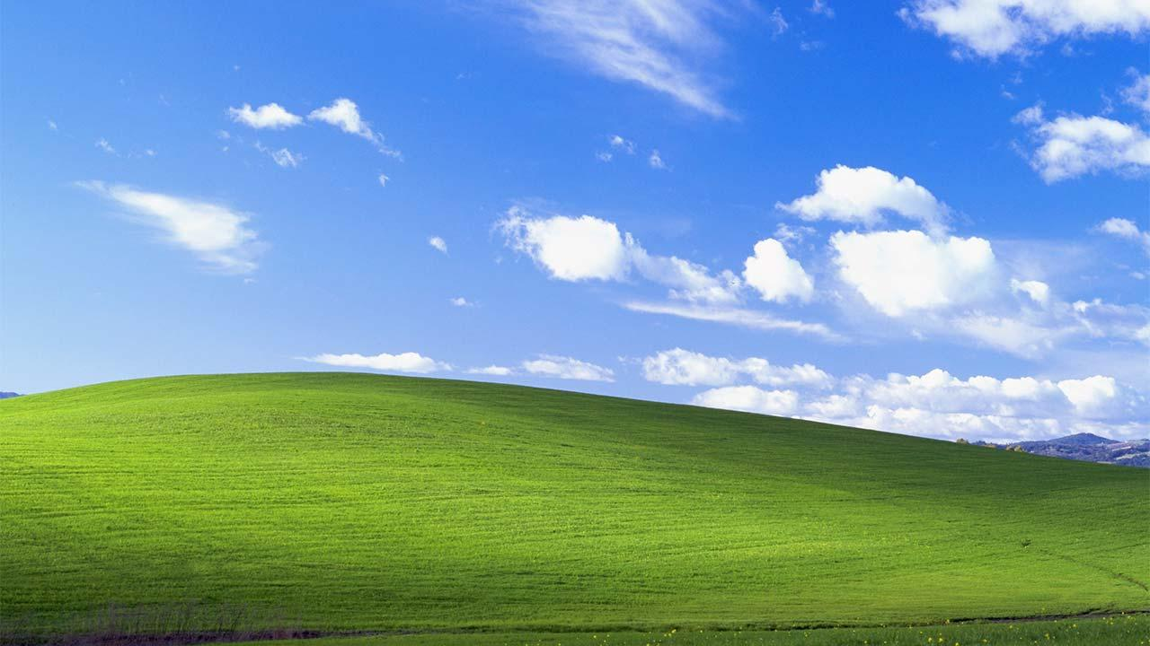 Bliss -- The default computer wallpaper for Windows XP. The photo was taken in Somoma County in 1996 and according to the photographer, it was not digitally enhanced or manipulated in any way.