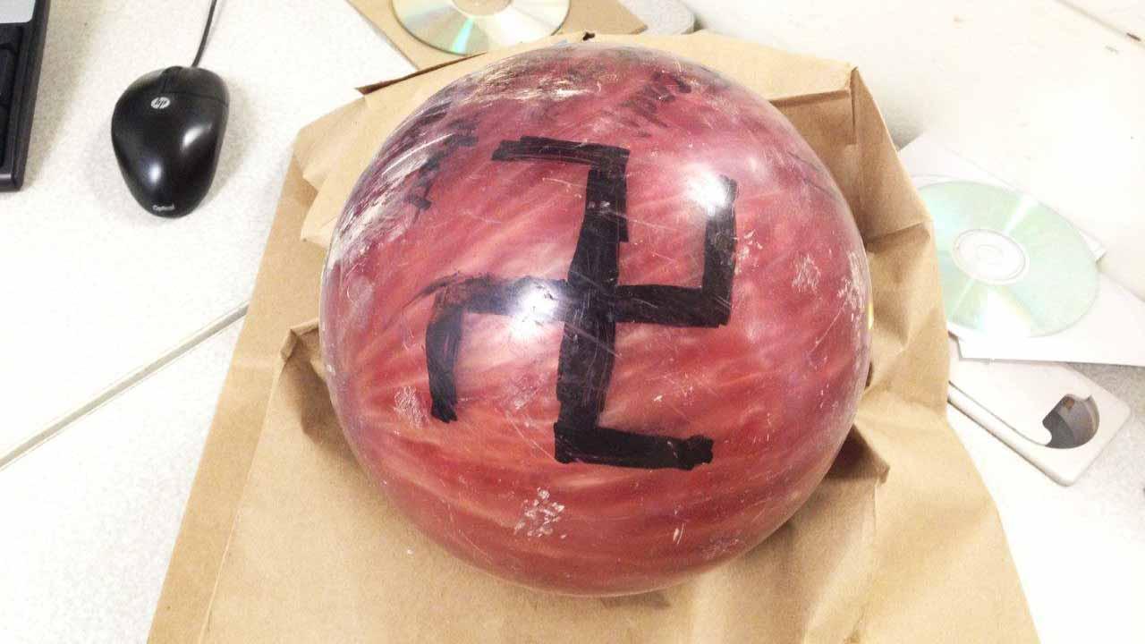 Bowling ball with swastika thrown at Madera familys car