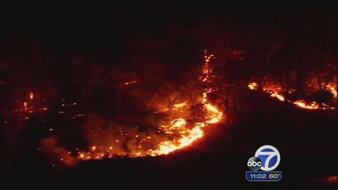 Morgan fire flares up Monday night