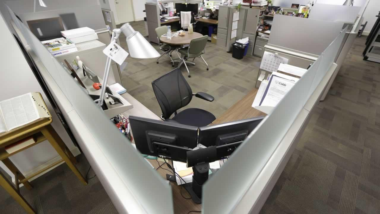 An empty office cubicle
