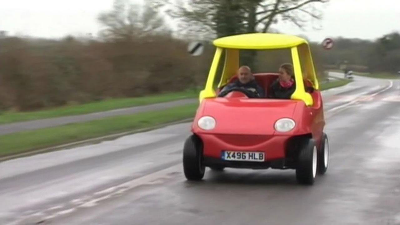 Mechanic John Bitmead has built an adult-sized version of the popular kids car, the Little Tikes Cozy Coupe.