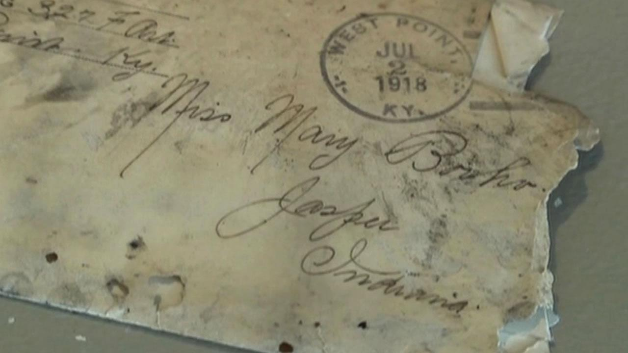 Love letters to a woman from a World War I soldier found hidden behind attic wall during home renovation in Indiana.