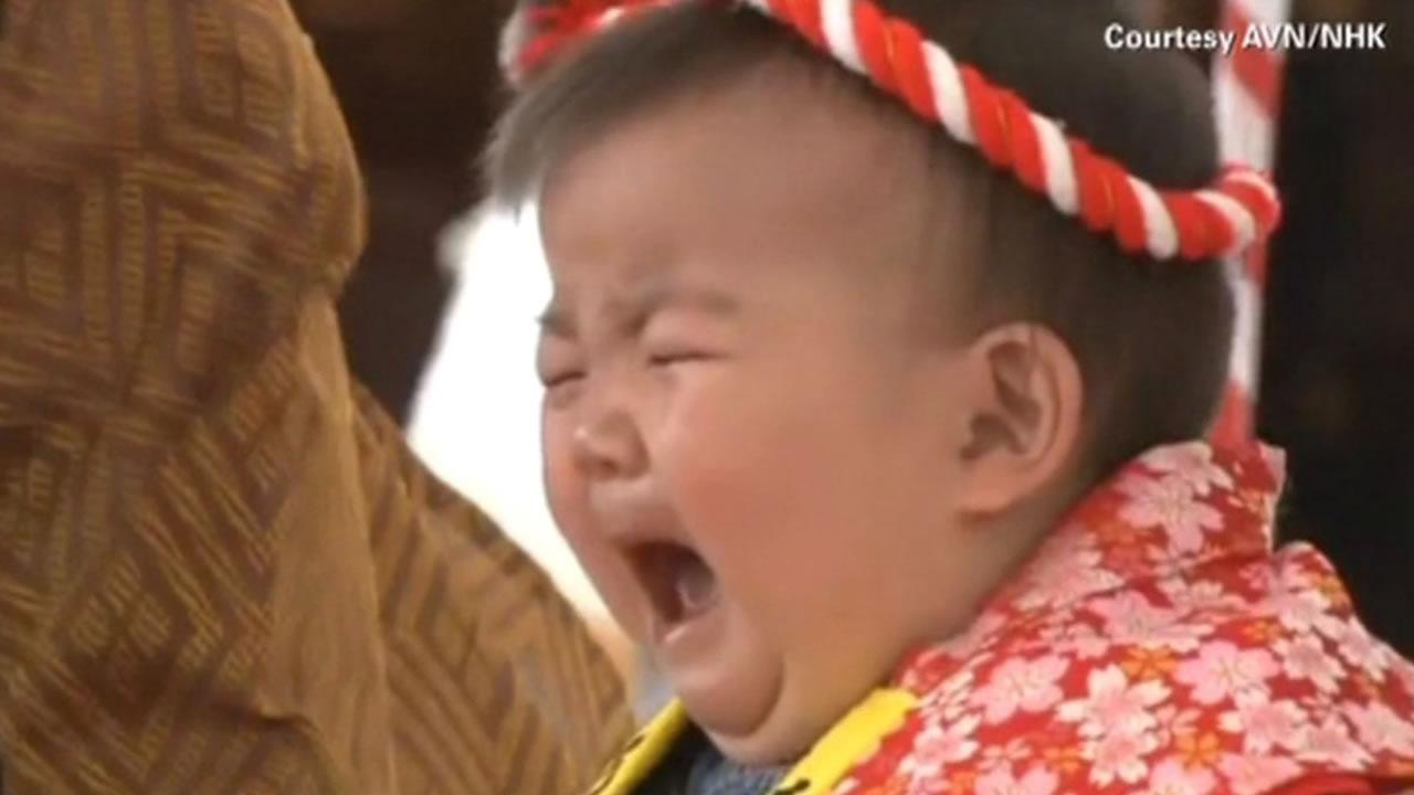 Crying baby contest held in Japan.