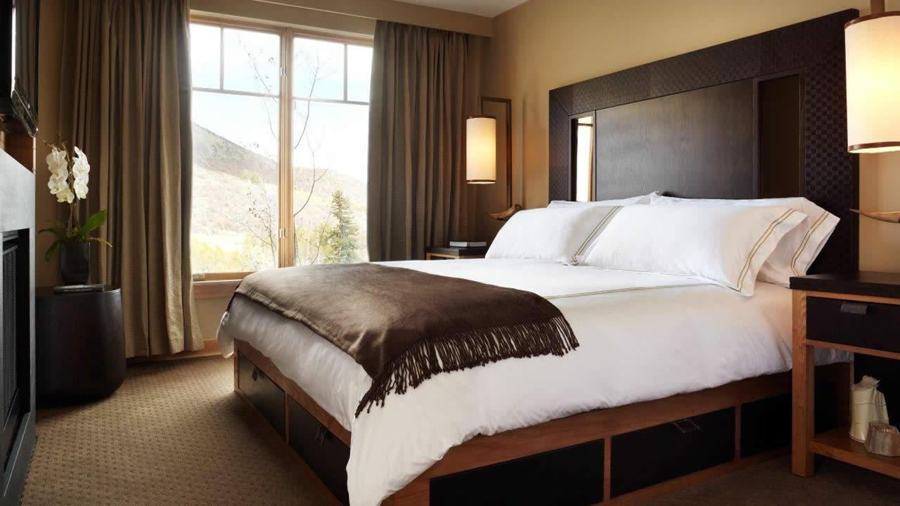 This undated photo provided by the Viceroy Snowmass in Snowmass Village, Colo., shows a guest room in the hotel. (AP Photo/Viceroy Snowmass)