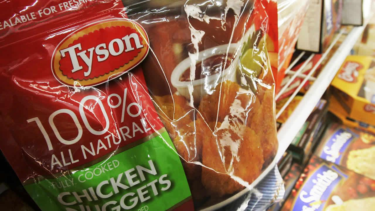 FILE - In this file photograph taken May 10, 2010, Tyson Foods Inc., frozen chicken nuggets are displayed in the freezer at a Little Rock, Ark., grocery store