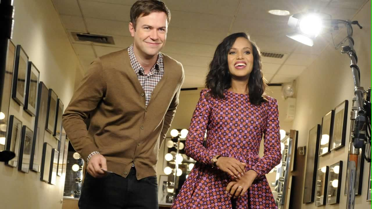 In this Oct. 29, 2013, file photo released by NBC, actress Kerry Washington, right, stands with cast member Taran Killam during a promotional shoot for Saturday Night Live, in New York.
