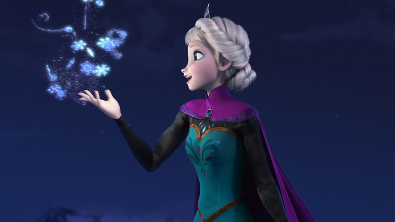 FILE - This file image provided by Disney shows Elsa the Snow Queen, voiced by Idina Menzel, in a scene from the animated feature Frozen. According to studio estimates Sunday, Jan. 5, 2014