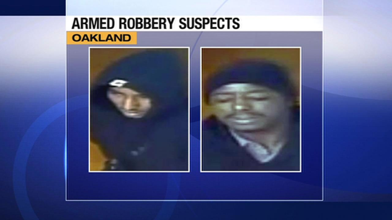 Two men suspected of robbing a Metro PCS store in Oakland.