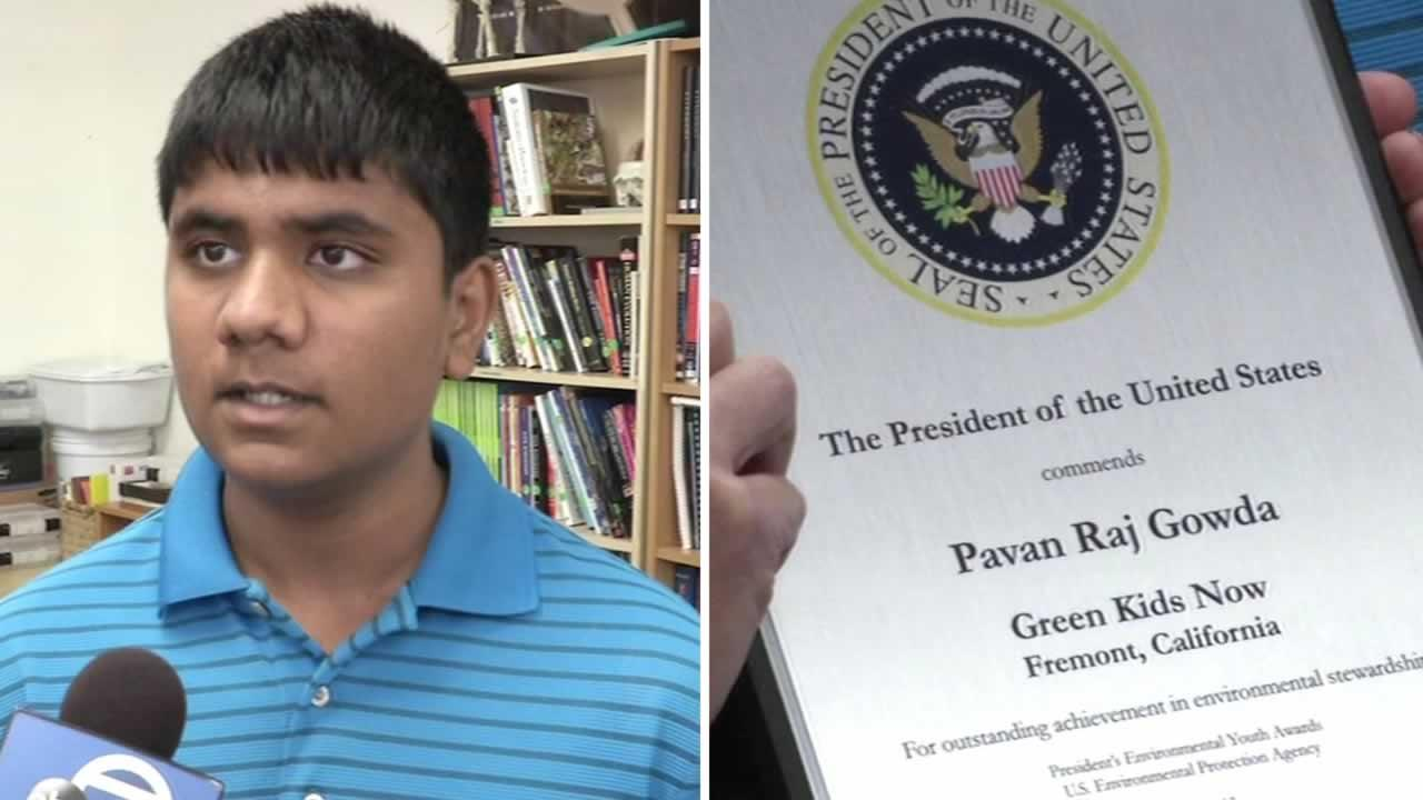 Fourteen-year-old Pavan Gowda received the Presidents Environmental Youth Award.
