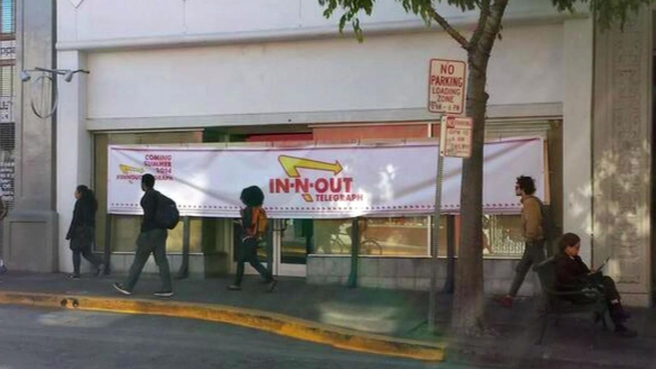 Bogus In-N-Out Burger restaurant sign in Berkeley, Calif.