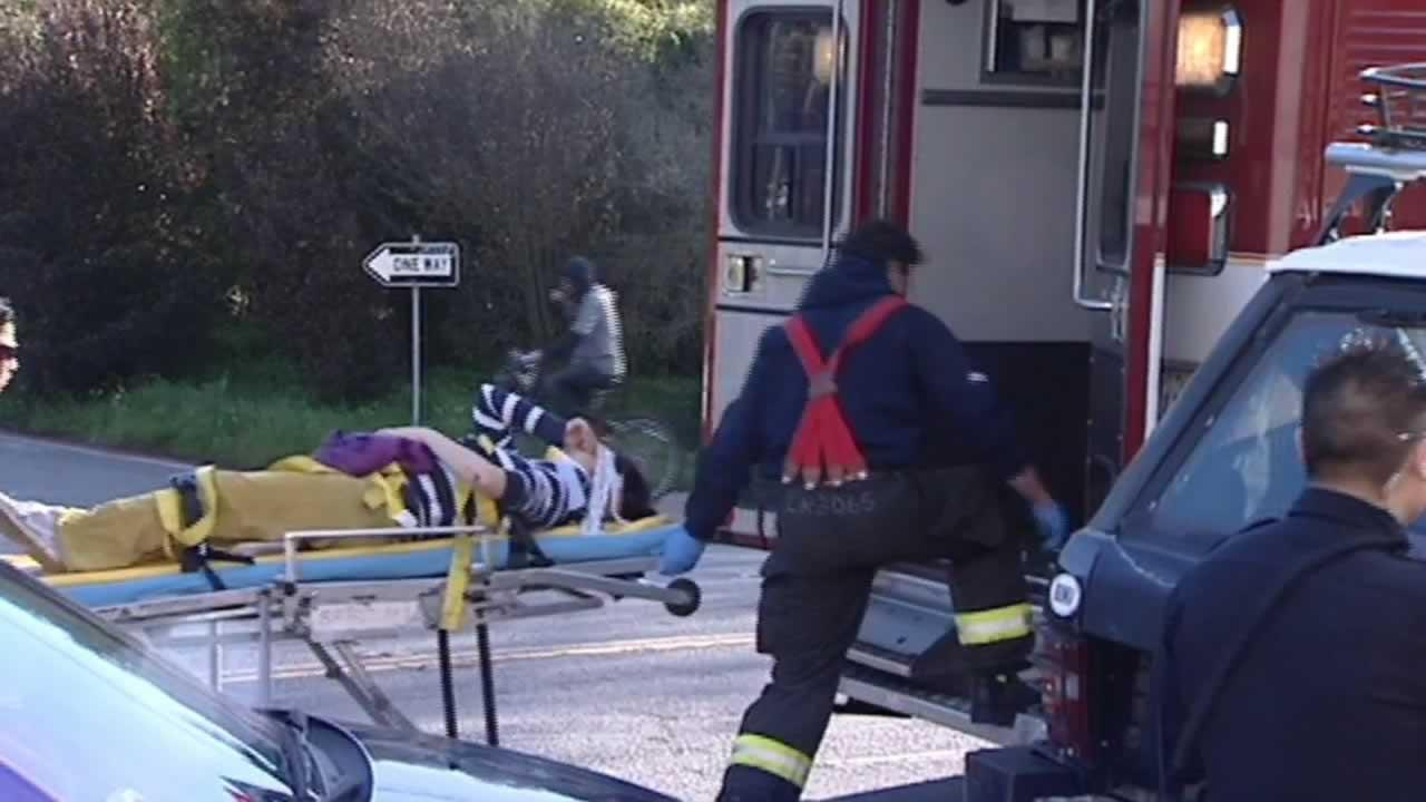 A 5-year-old boy and his baby sitter are recovering at a hospital  after being struck by a vehicle while walking in the Richmond  District.