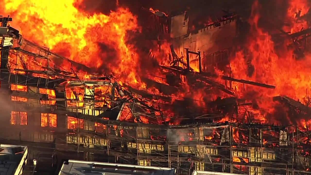 Massive fire burning on 4th Street near China Basin in San Francisco