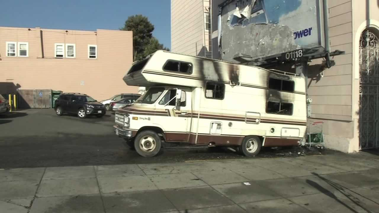 Burned-out camper at Lombard and Divisadero Streets in San Francisco.