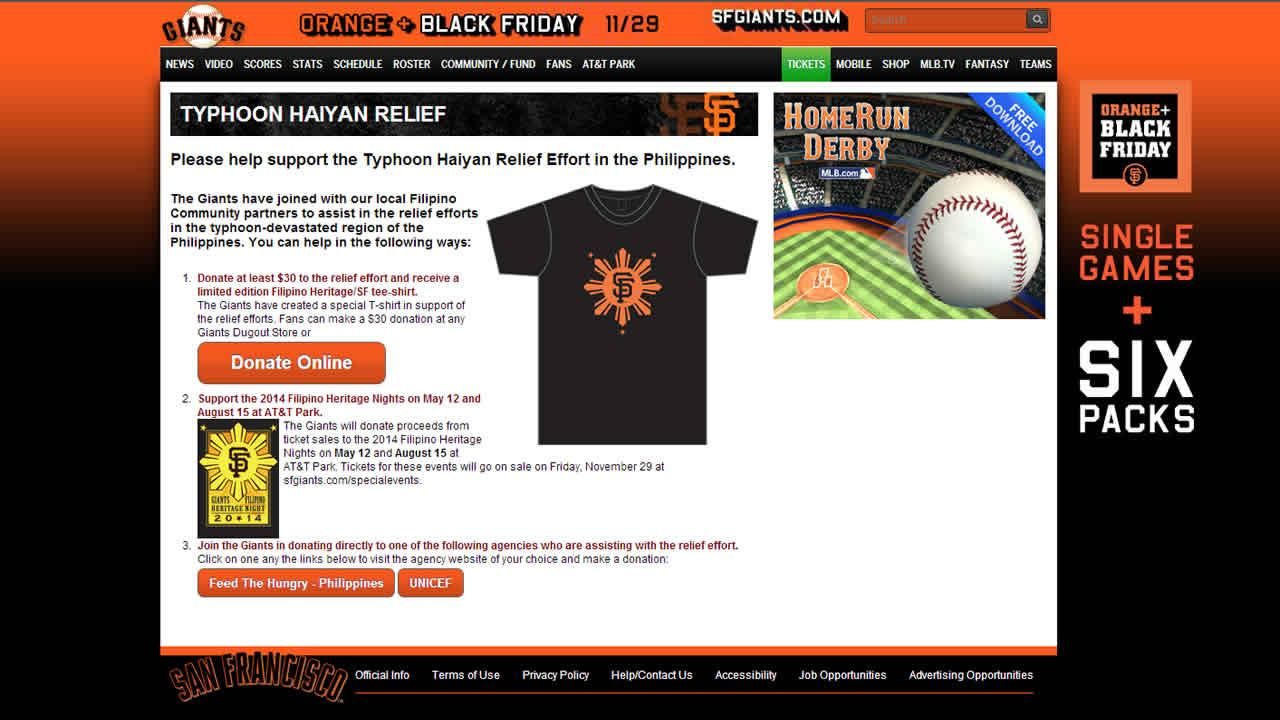 The San Francisco Giants are stepping up to the plate to help victims of Typhoon Haiyan in the Philippines.