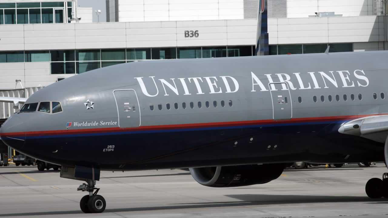A United Airlines plane.