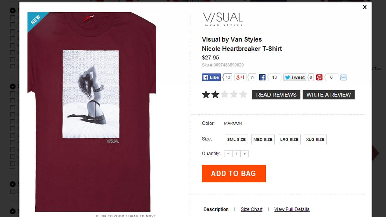 Racy t-shirt offered by Pac Sun clothing store.
