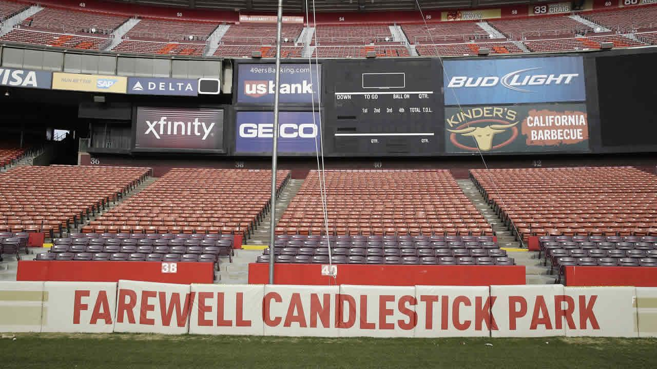 In this photo taken Tuesday, Dec. 17, 2013, a field wall reads Farewell Candlestick Park below seating by the scoreboard at Candlestick Park in San Francisco
