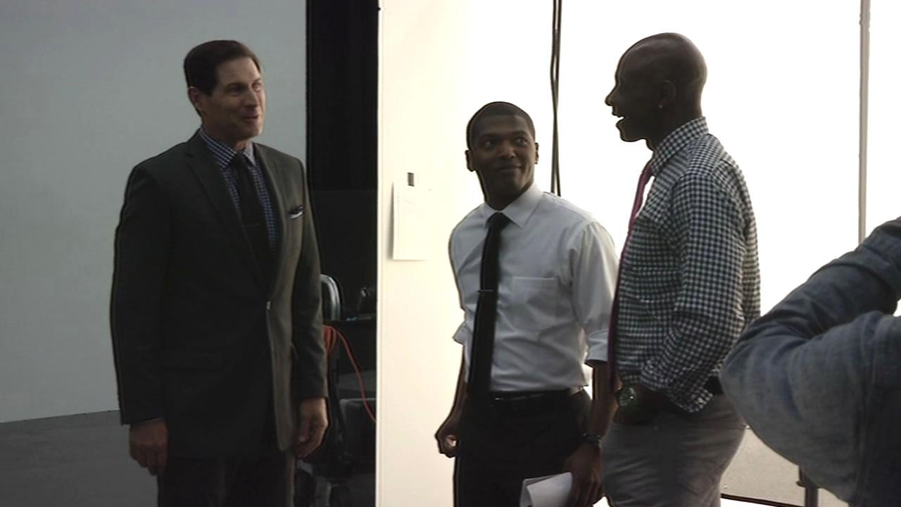 Cameron Lewis with Steve Young and Jerry Rice