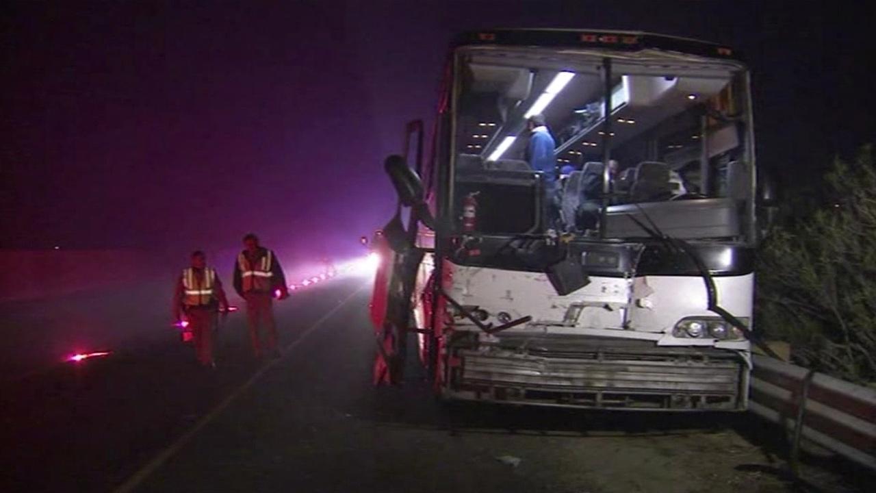 Bus crash in Tulare County, California.