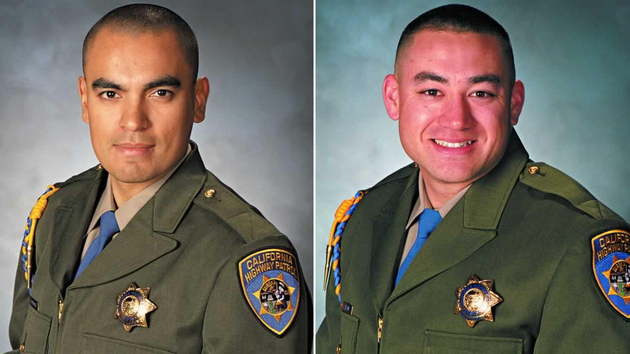 Officers Juan Gonzalez and Brian Law were killed while responding to a call of a multi-vehicle accident on Highway 99 in the Central Valley town of Kingsburg at around 6 a.m. Monday.