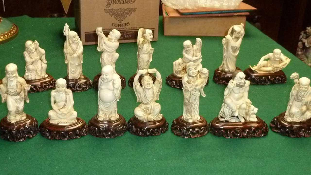 Authorities say theyve recovered 18 antique Chinese ivory Buddhist Lohans from the Qing Dynasty after they were stolen from an art gallery in southwest Houston on April Fools Day.