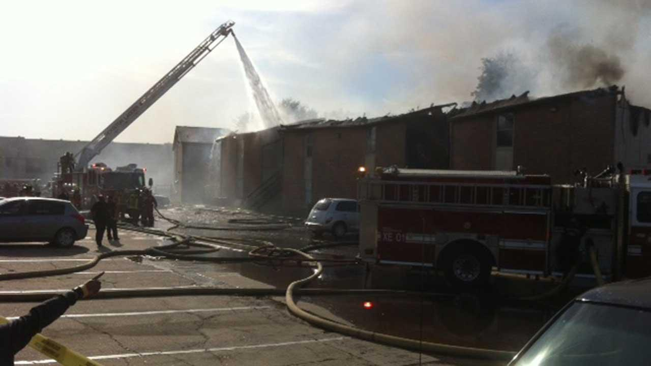 Firefighters go in defensive mode battling apartment fire in northwest Houston