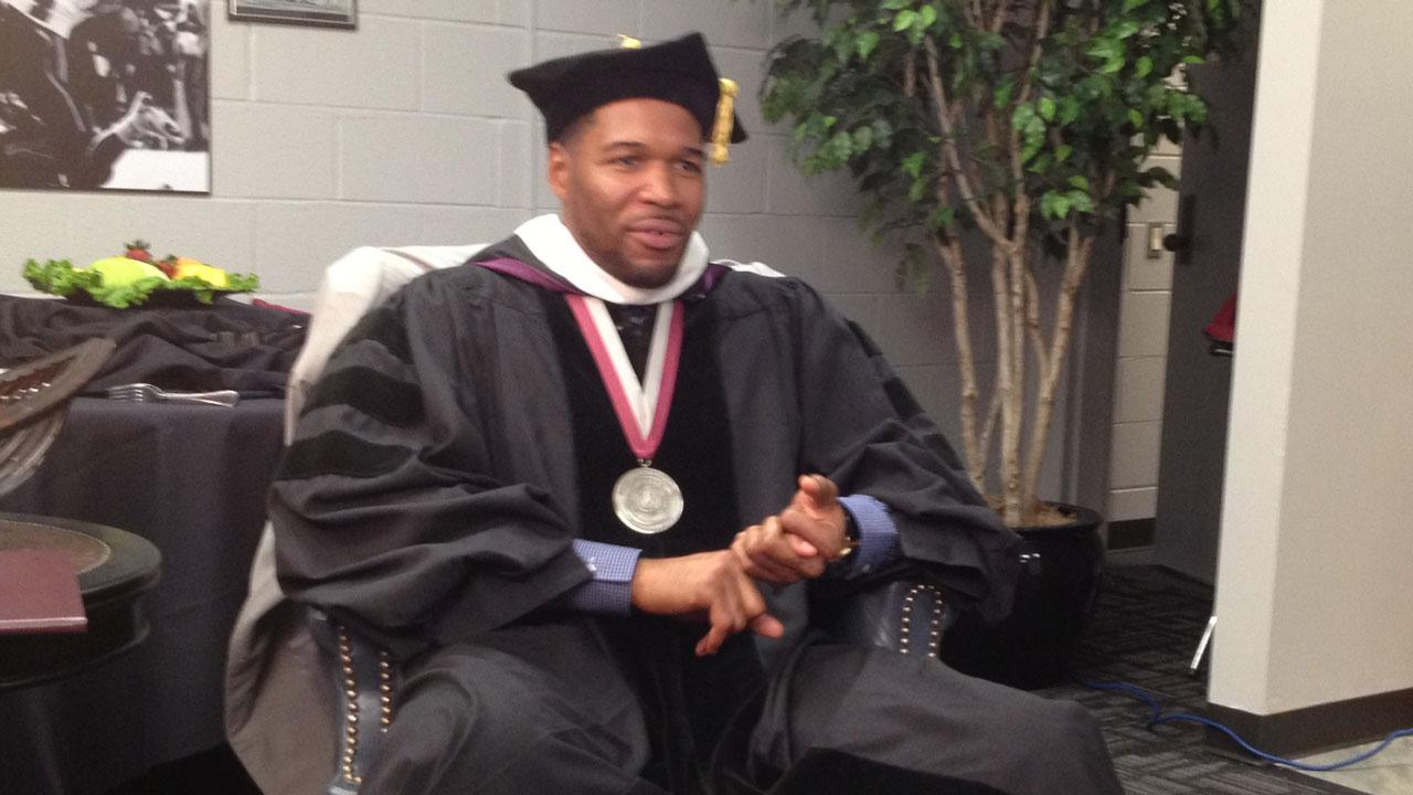 ABC13 sits down with Michael Strahan, former football star and co-host of LIVE with Kelly and Michael, after he received his honorary doctorate from Texas Southern University in Houston