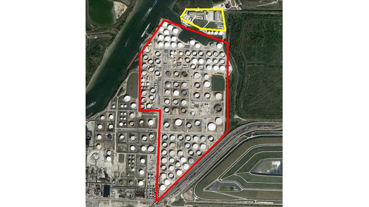 Kinder Morgan says the area outlined in red is the Pasadena Terminal; the area outlines in yellow is newly acquired land.