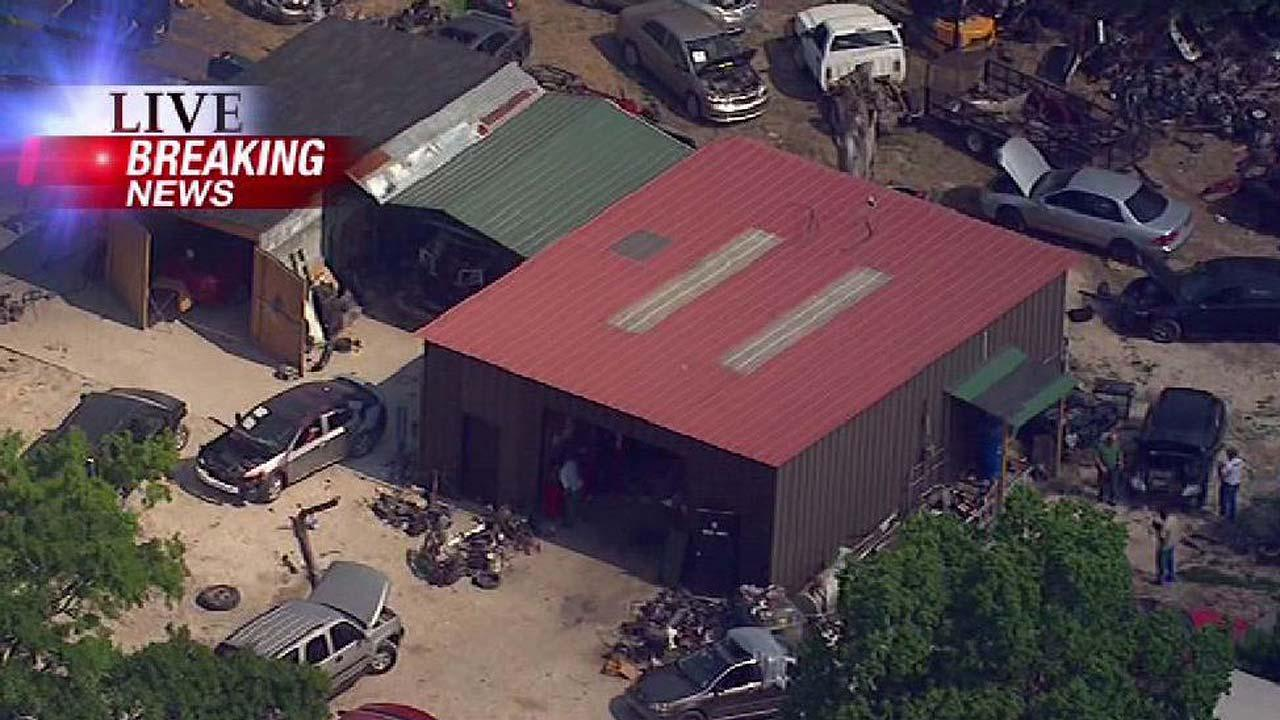 SkyEye 13 HD was over the scene of a suspected chop shop raid Monday afternoon in northwest Harris County.