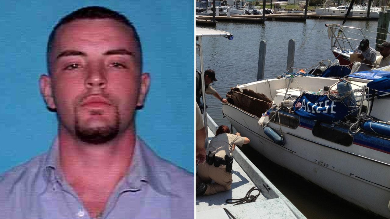 Dustin Lunsford of Galveston is charged with violating section 31.104 of the state Parks and Wildlife Code. At right, investigators examine the damaged sailboat Lunsford allegedly struck with his motorboat before fleeing.