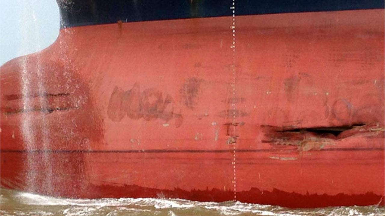 The unloaded 800-foot tanker, Minerva Maya, sustained some damage after a collision with a tug pushing barges in the Houston Ship Channel June 2, 2013. No injury or pollution was reported from the incident. U.S Coast Guard Photo.