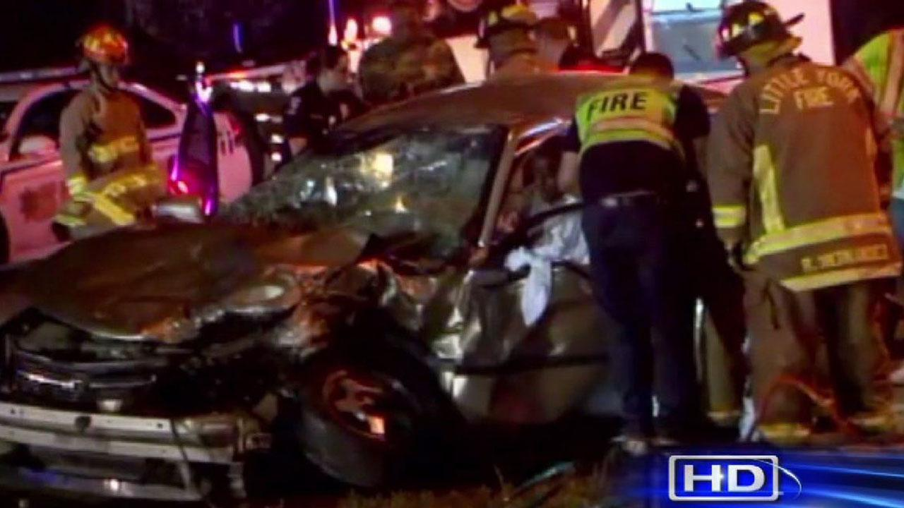 A man was rescued from this car after it collided with an SUV in northwest Harris County. The men and his family were taken to the hospital, but authorities said they werent seriously hurt.