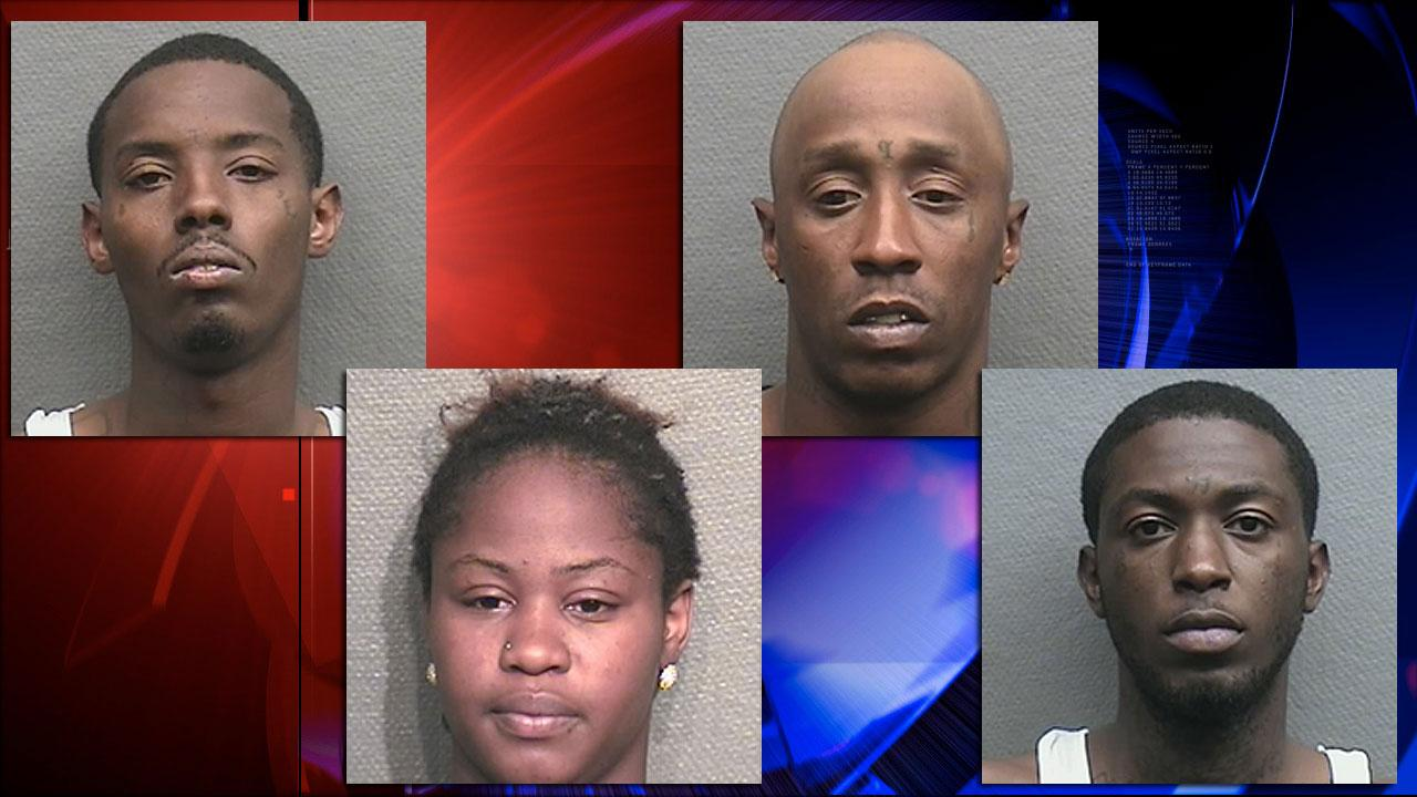 Korey Lewillie Magee, 28, (top left) and Arthur R. Holloway, Jr., 31, (top right) are charged with capital murder.   Khaundrica Micole Williams, 21, (bottom left) and Lynell Vincent Jordan, 25, (bottom right) are charged with murder.