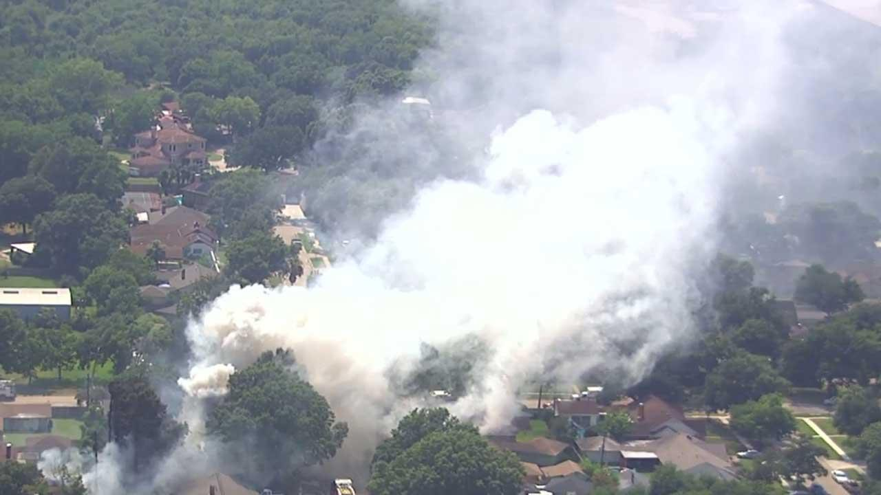 Multiple fire crews responded to the fire, which consumed multiple homes in Pasadena Friday