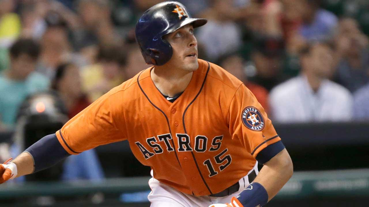 Houston Astros Jason Castro watches his solo home run against the Los Angeles Angels in the fourth inning of a baseball game Friday, June 28, 2013, in Houston. (AP Photo/Pat Sullivan)